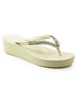 Crystal embellished wedge flip flops