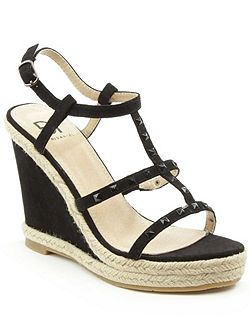 Deighton t-bar studded wedge sandals