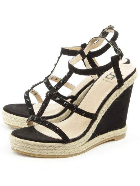 Daniel Deighton t-bar studded wedge sandals