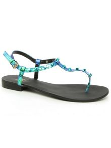 Daniel Foxhil studded t-bar toe post sandals