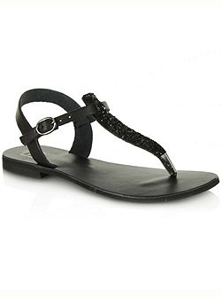 Hessay glitter t-bar toe post sandals