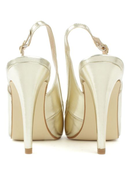 Daniel Melbon metallic high slingback court shoes