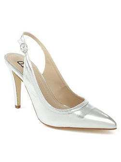 Melbon metallic high slingback court shoes