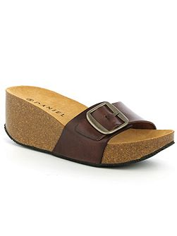 Roswell open toe mid wedge mules