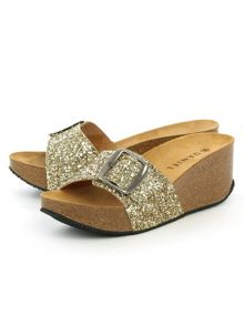 Daniel Roswell open toe mid wedge mules