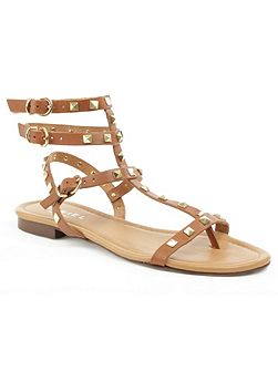 William square studded gladiator sandals