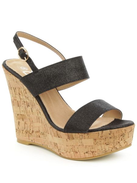 Daniel Wirral shimmer high cork wedge sandals