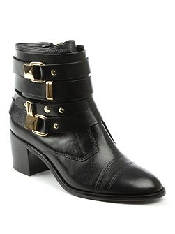 Reegan block heel metal trim ankle boots