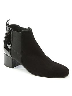 Mimi patent back ankle boots