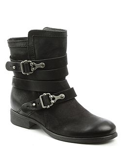 Meghan double buckle ankle boots