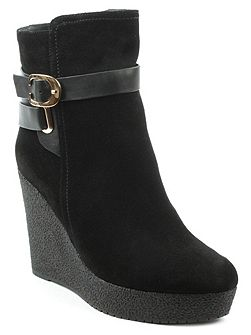 Sandhurst high wedge buckle ankle boots