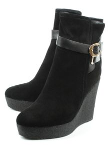 Daniel Sandhurst high wedge buckle ankle boots