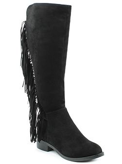 Willow park fringed knee high boots