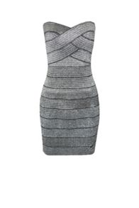 Blue Vanilla Metallic bandage bandeau dress