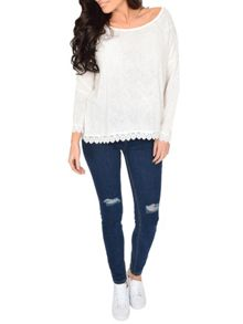 Blue Vanilla Lace Trim Boxy Sweater