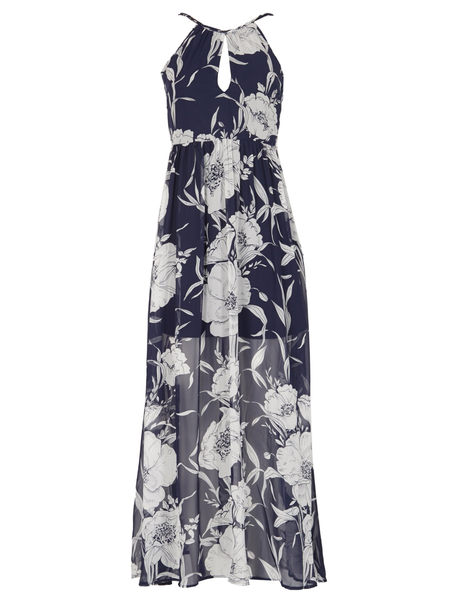 Blue Vanilla Flower Print Chiffon Maxi Dress, Blue