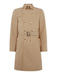 Ben Sherman Double Breasted Twill Trench Coat