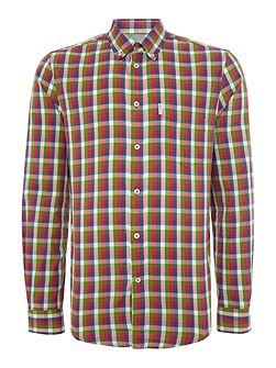 Multi-Colour Gingham Slim Fit Long Sleeve Button