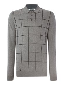 Windowpane knitted polo