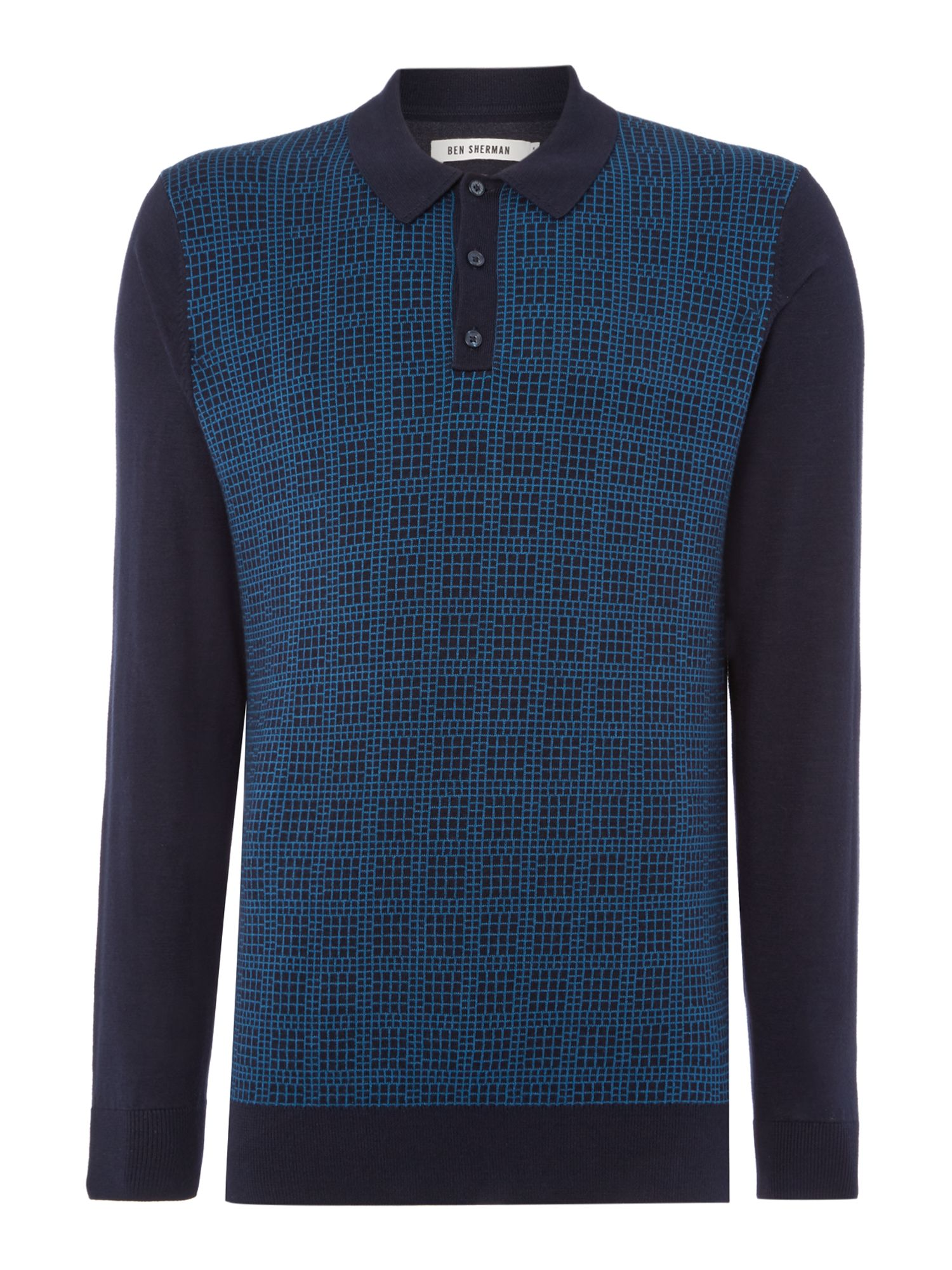 1960s Style Men's Clothing Mens Ben Sherman Knitted long sleeve grid polo £60.00 AT vintagedancer.com