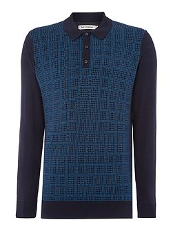 Knitted long sleeve grid polo