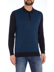 Ben Sherman Knitted long sleeve grid polo