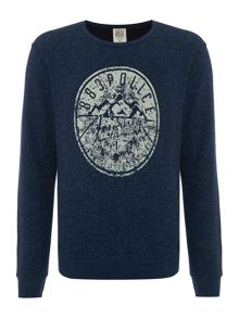 883 Police Pattern Crew Neck Button Jumper