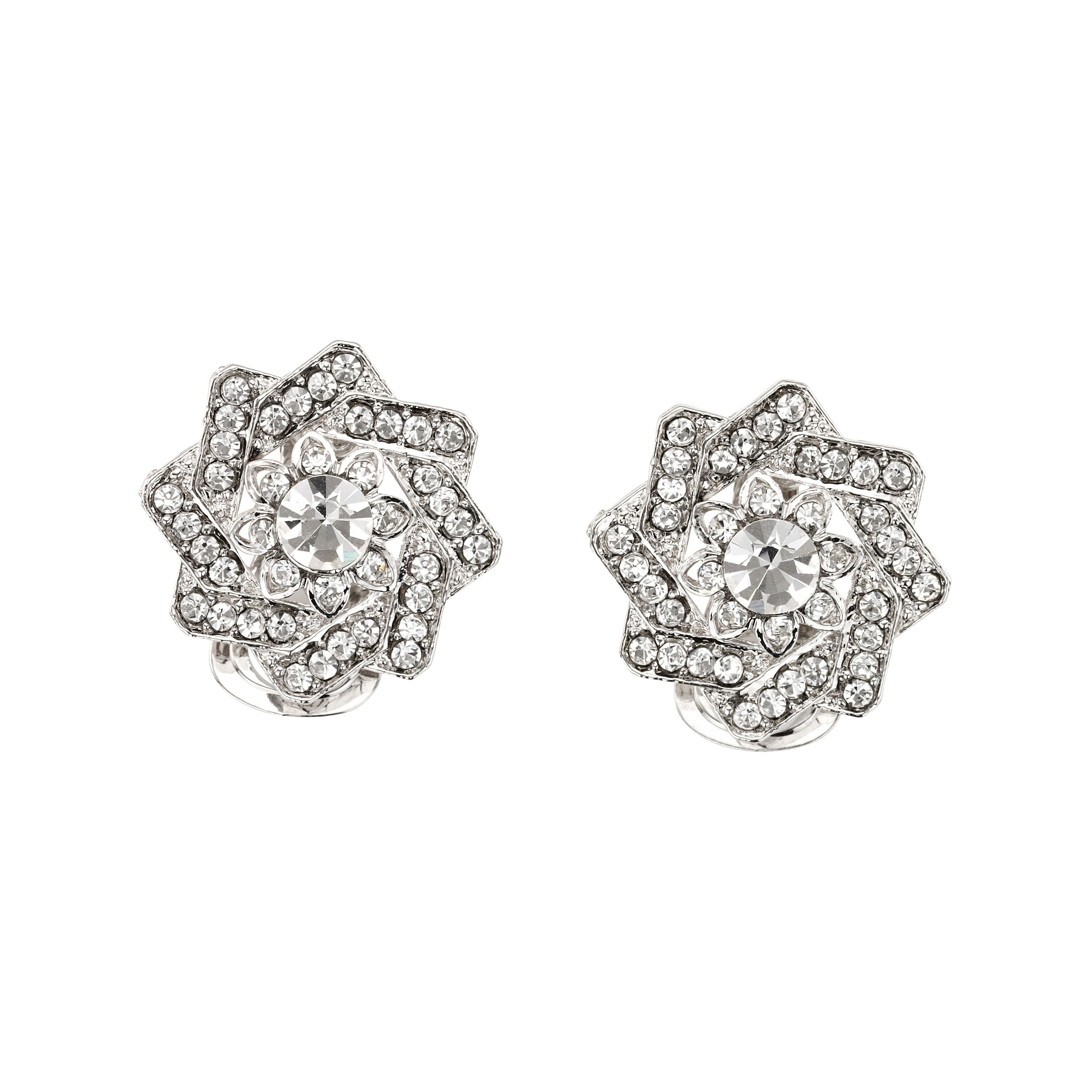 Twisted flower crystal clip earrings