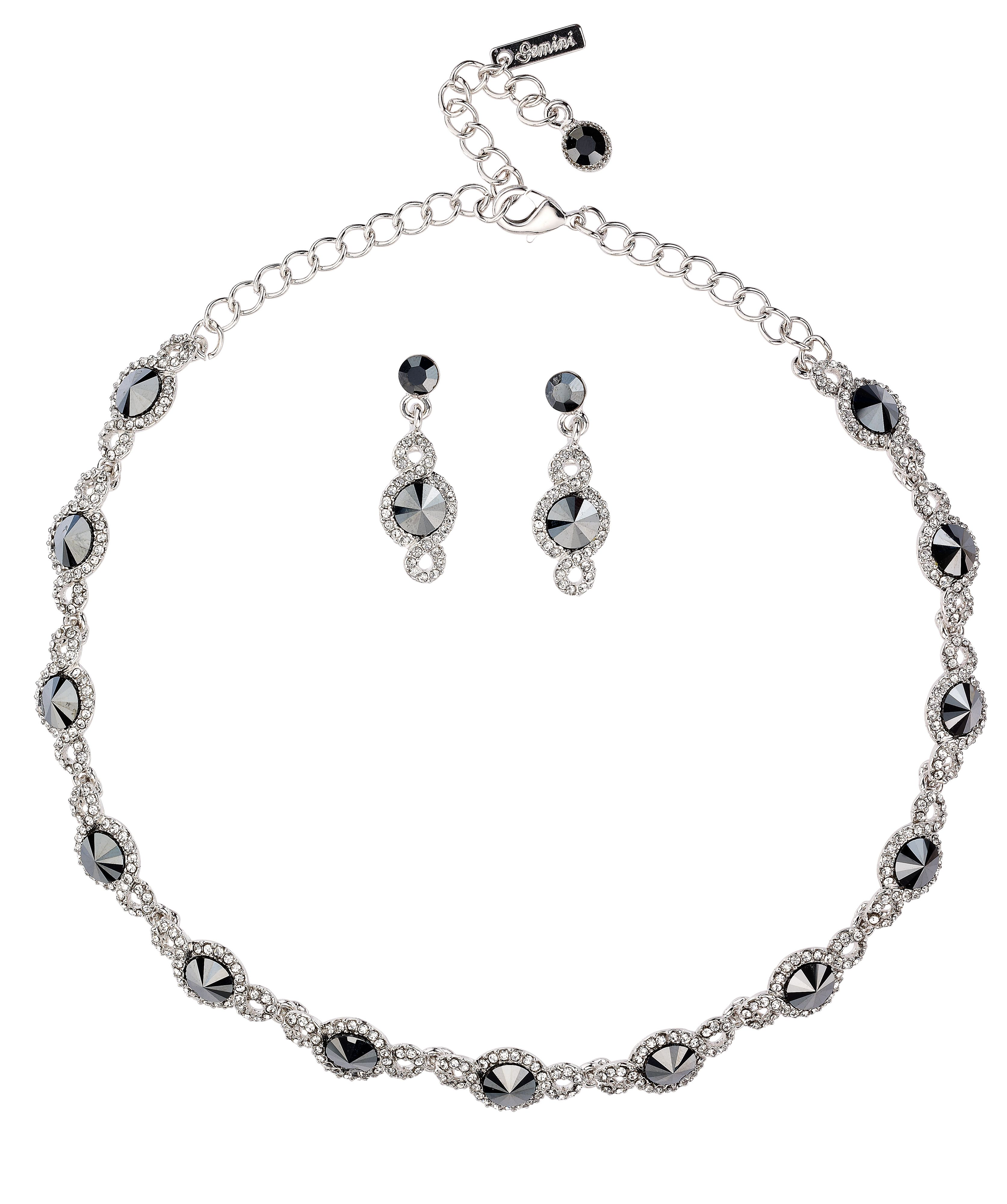 Crystal link swirl necklace set