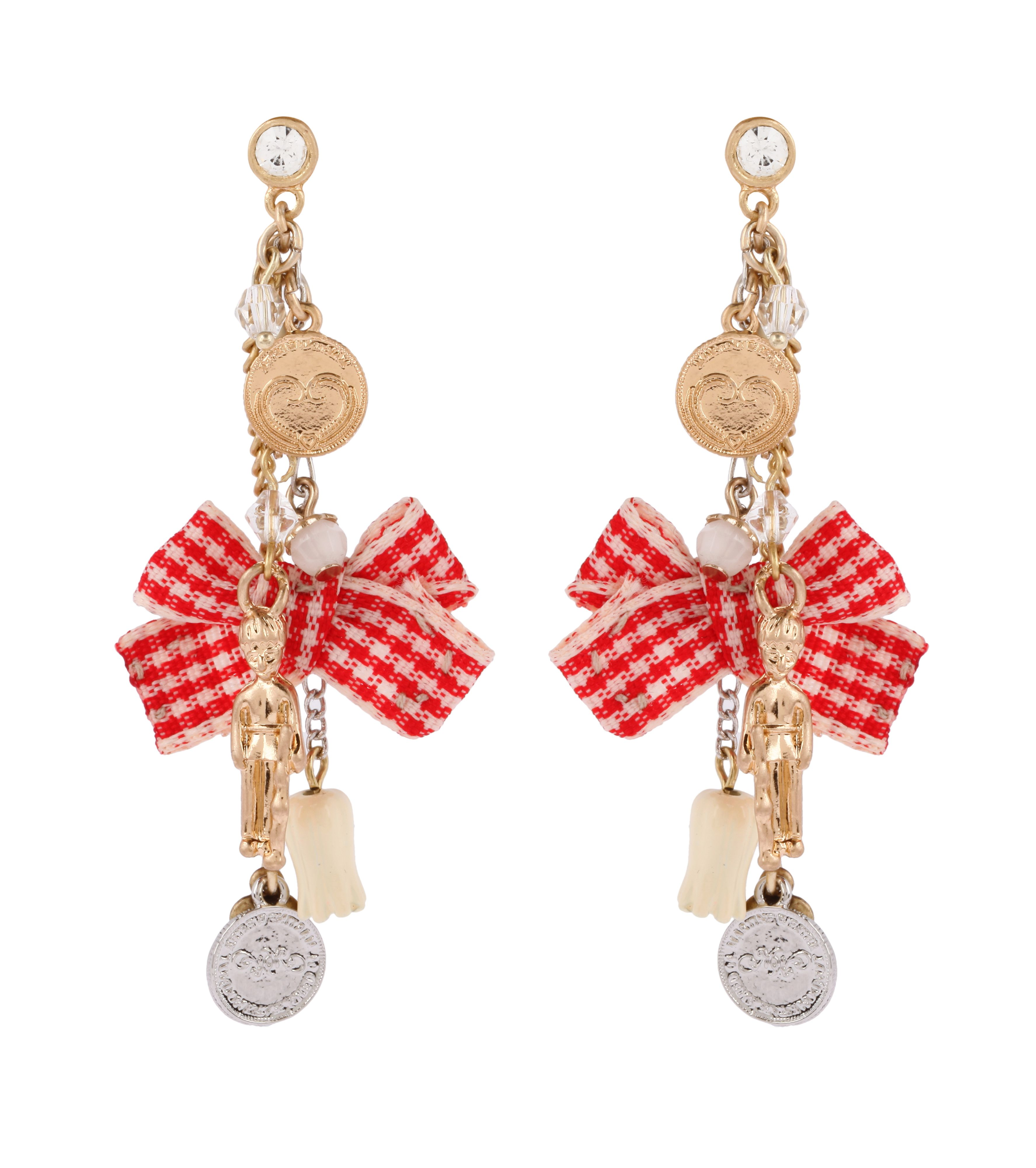 Red ribbon bow drop earrings