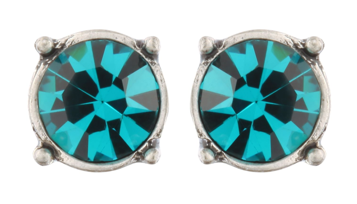 Tribal Crystal Studs In Blue Zircon