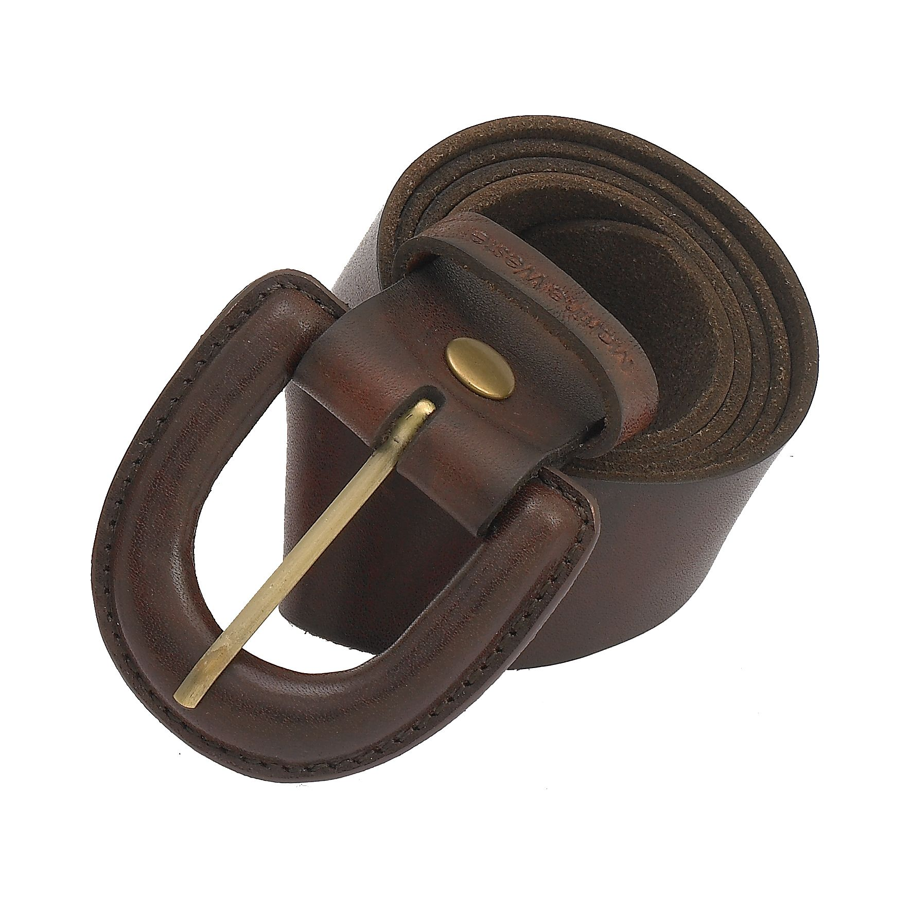 Modern Leather Covered Buckle Belt