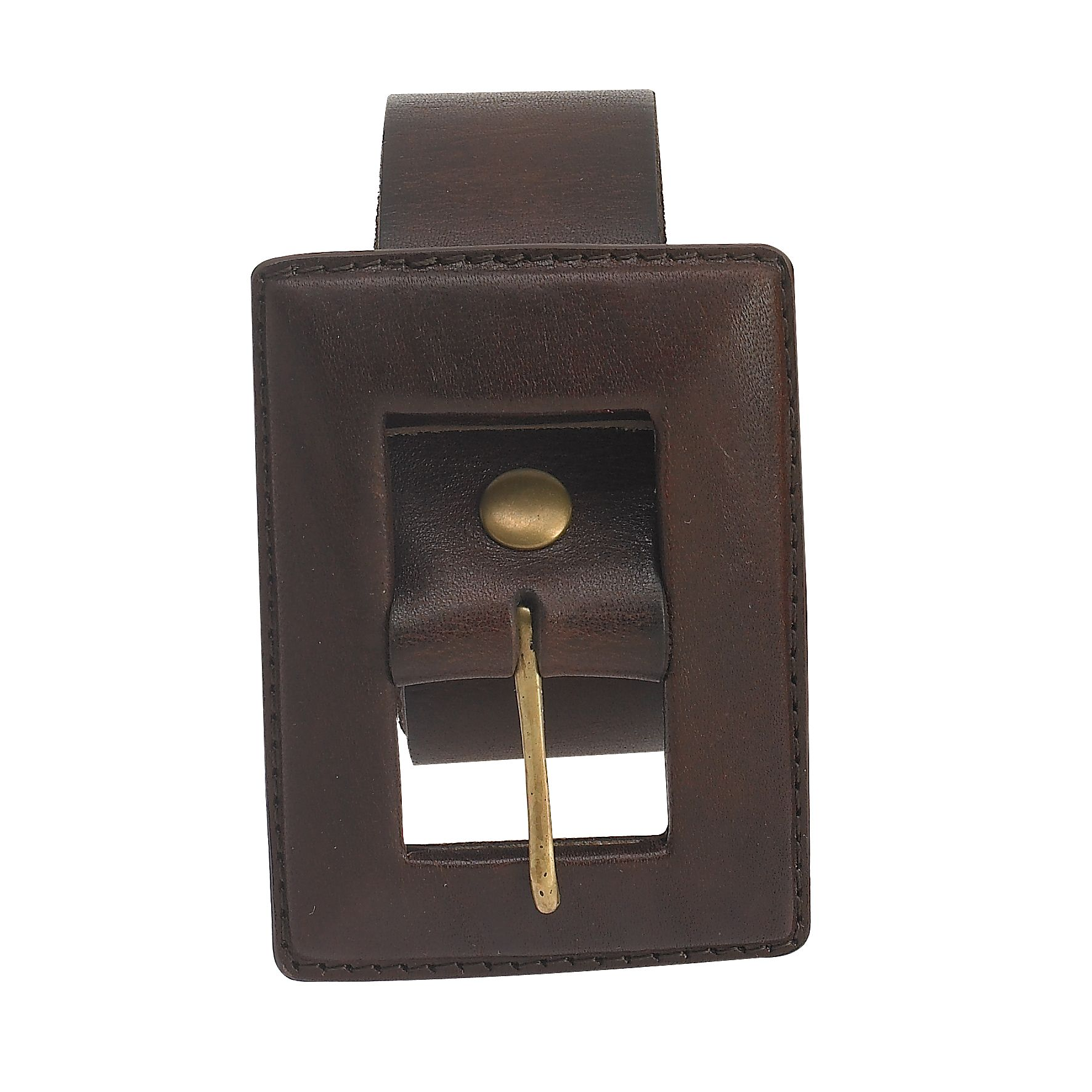 Modern Leather Covered Rectangle Buckle Belt