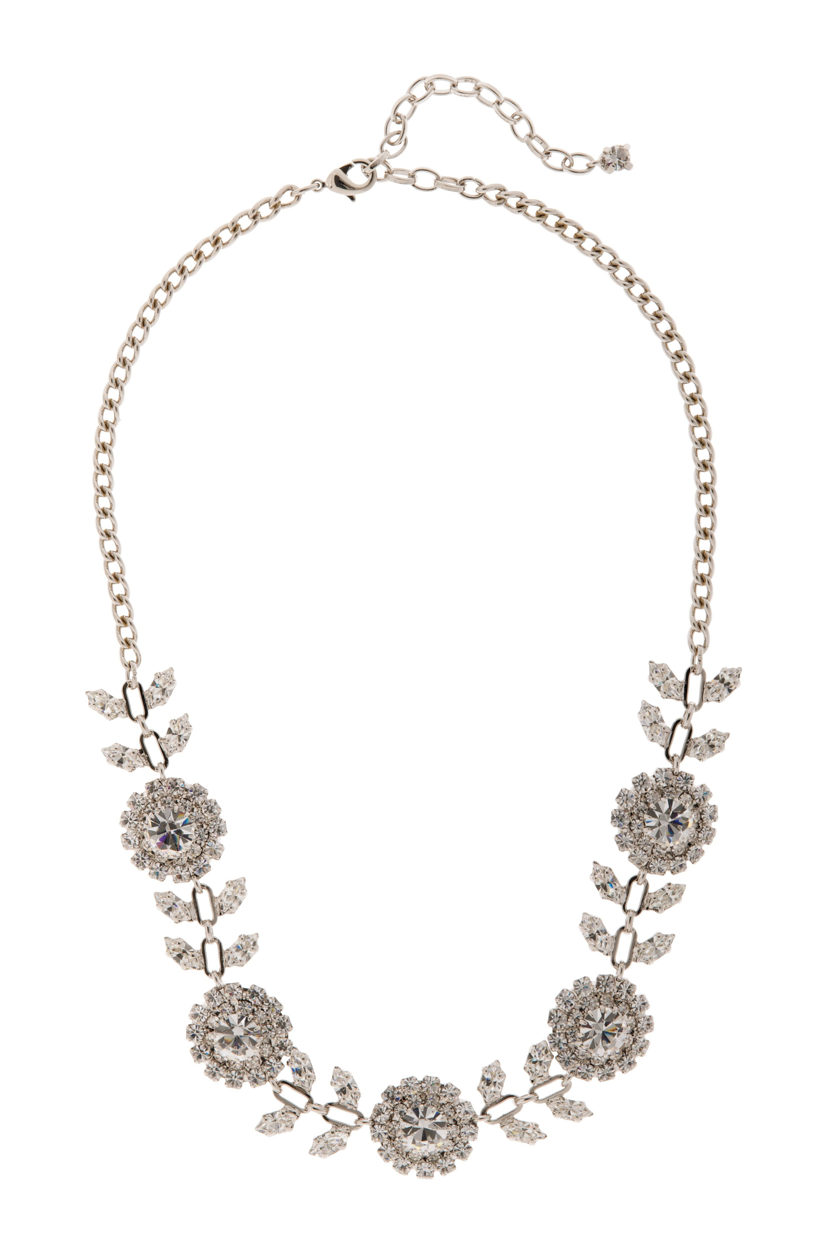 Bridal rose and petal crystal necklace