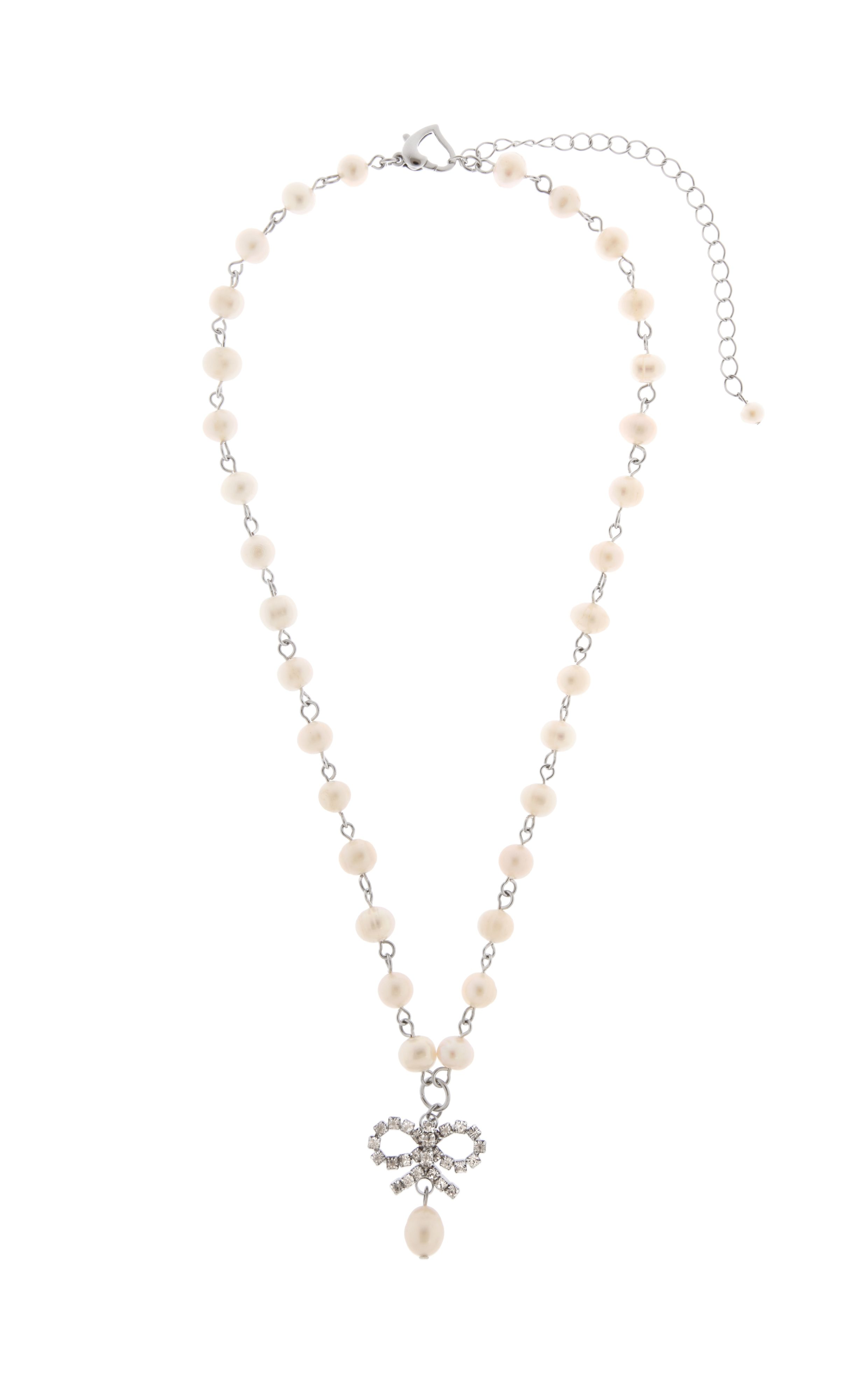 Pearl Necklace With Bow Drop
