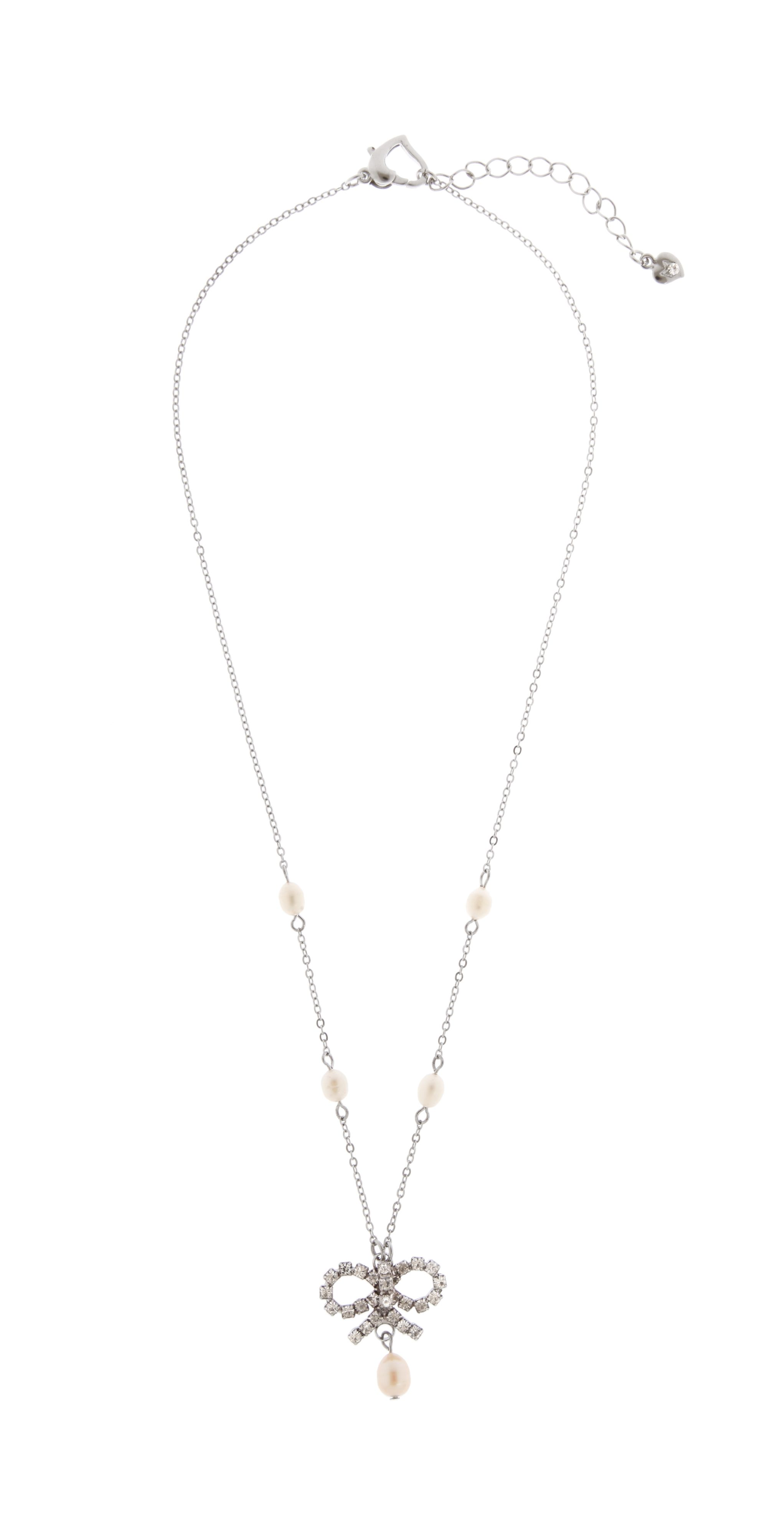 Delicate Chain Necklace With Bow Detail