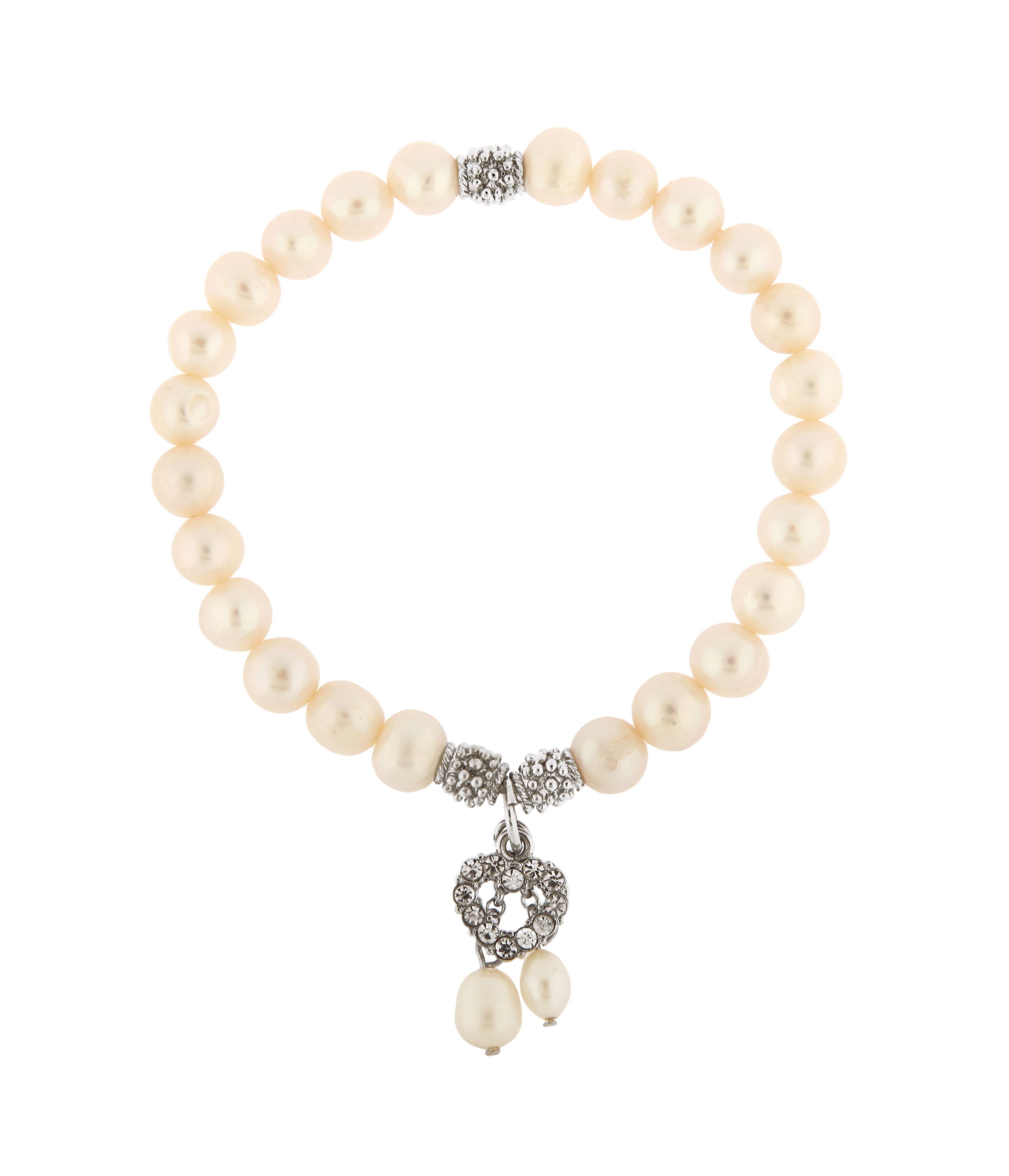 Crystal Heart Pearl Stretch Bracelet