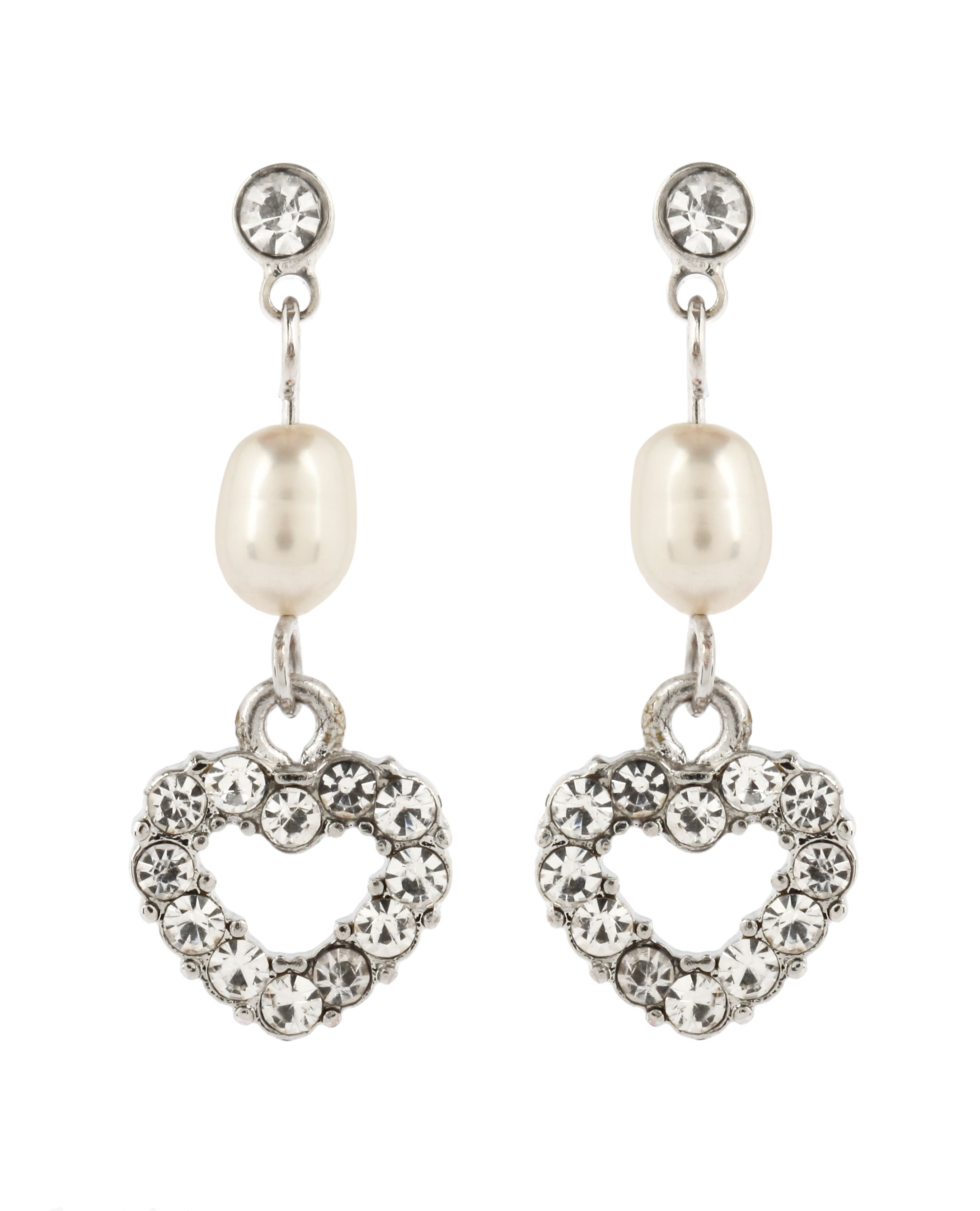 Crystal Heart Pearl Earrings