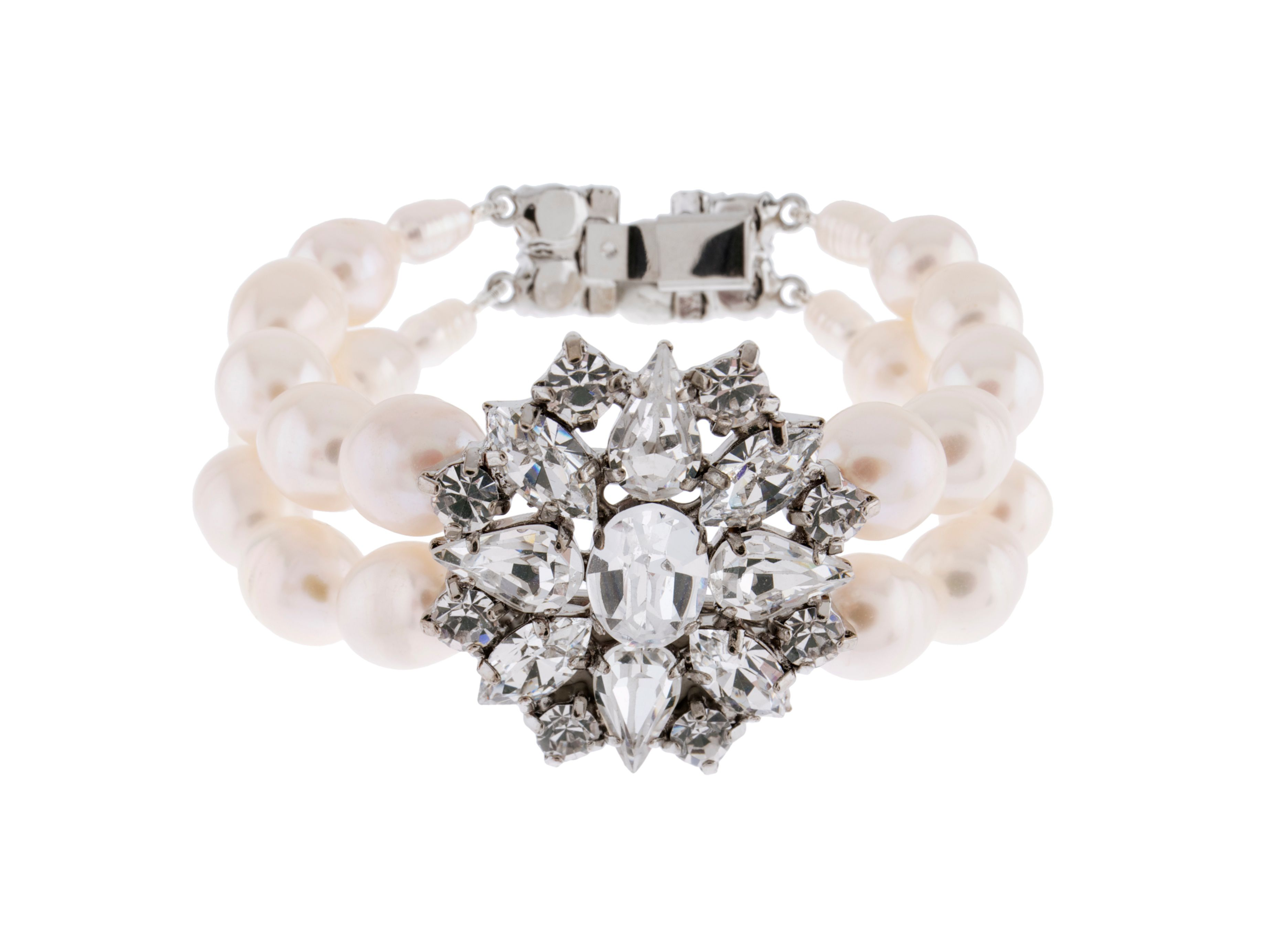 Bridal Crystal And Pearl Bracelet