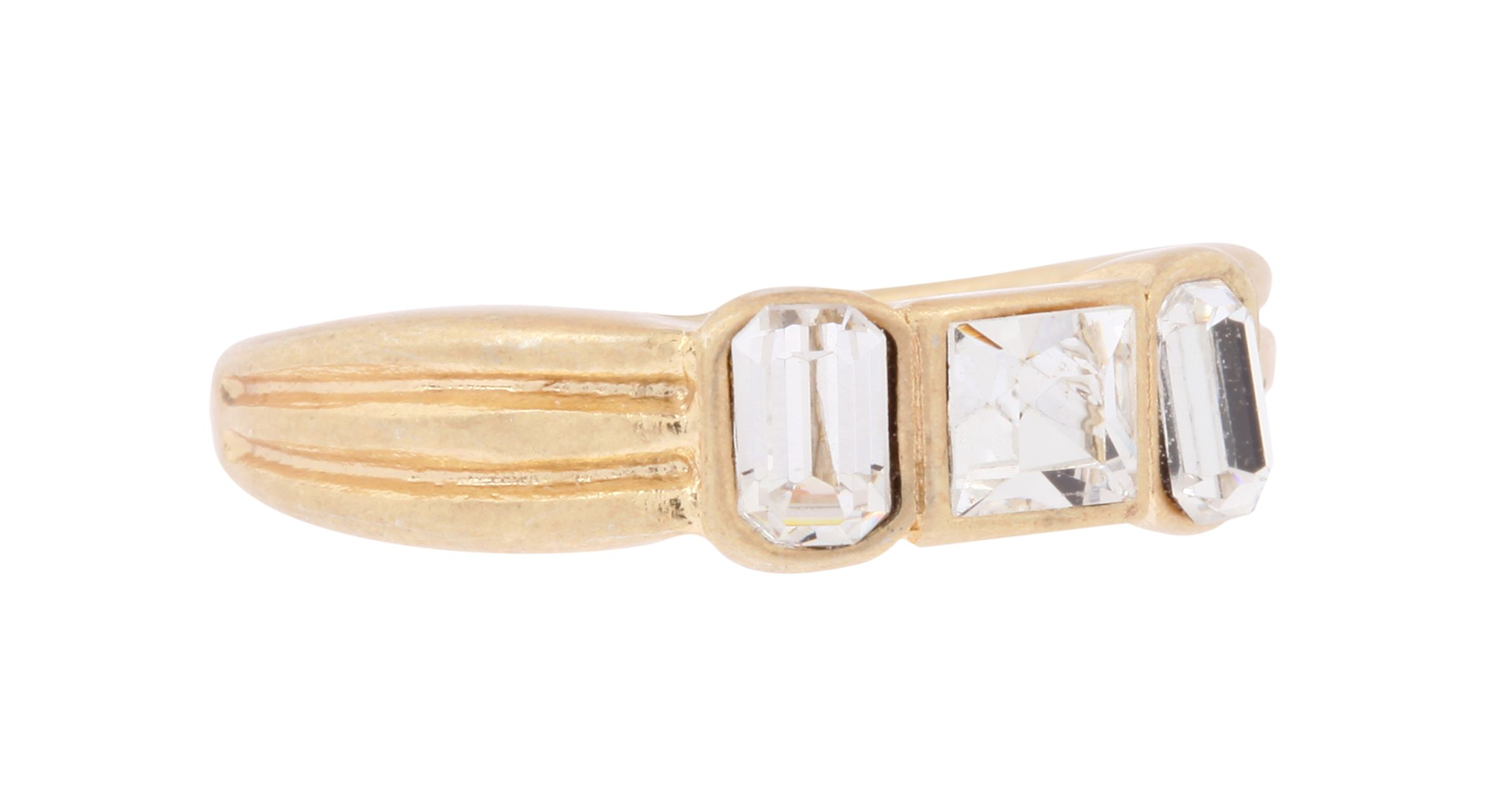 Gold Speakeasy Crystal Three Stone Ring