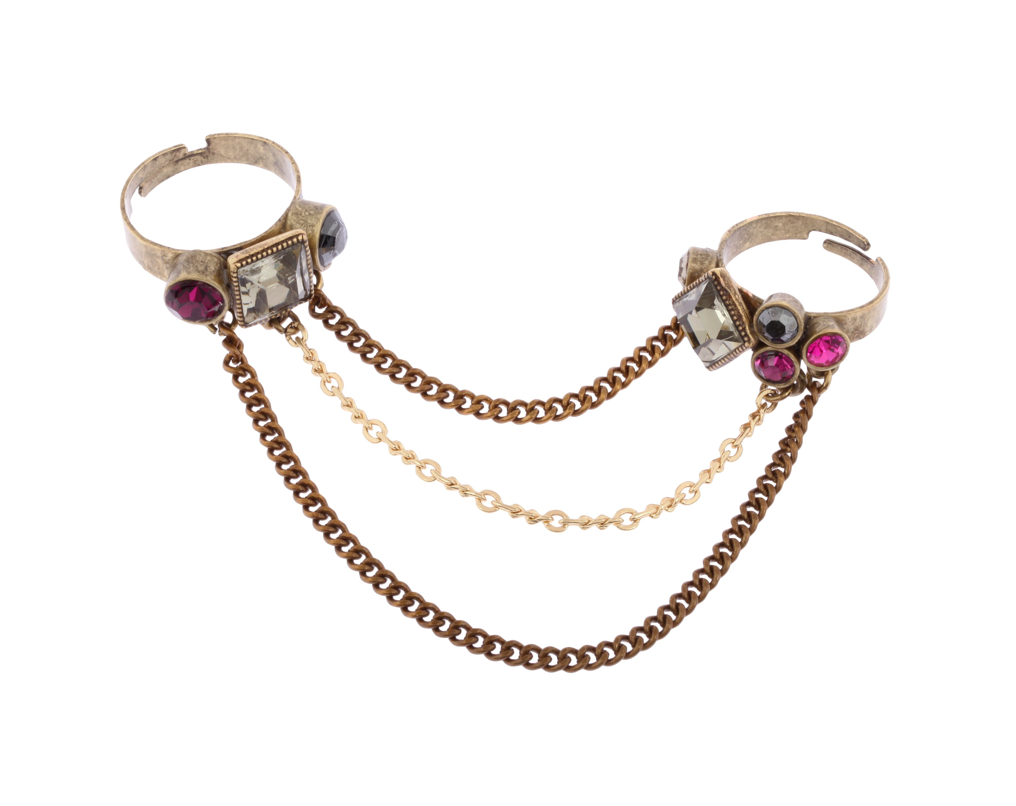 Double Band Adjustable Crystal Chain Ring