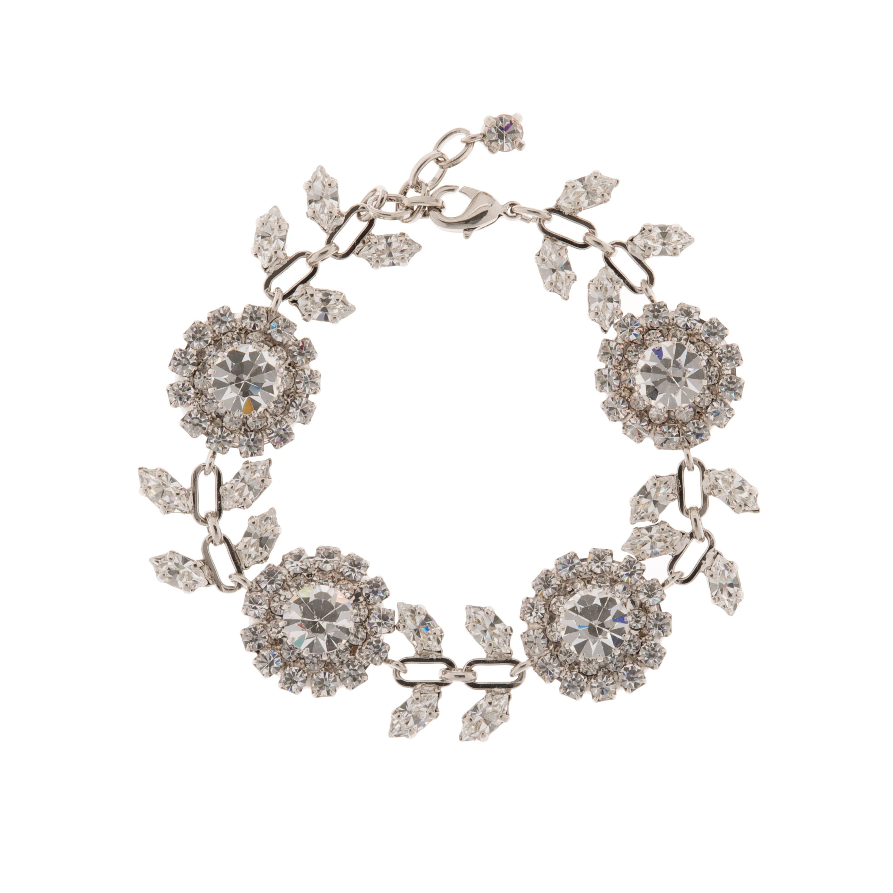 Bridal rose and petal crystal bracelet
