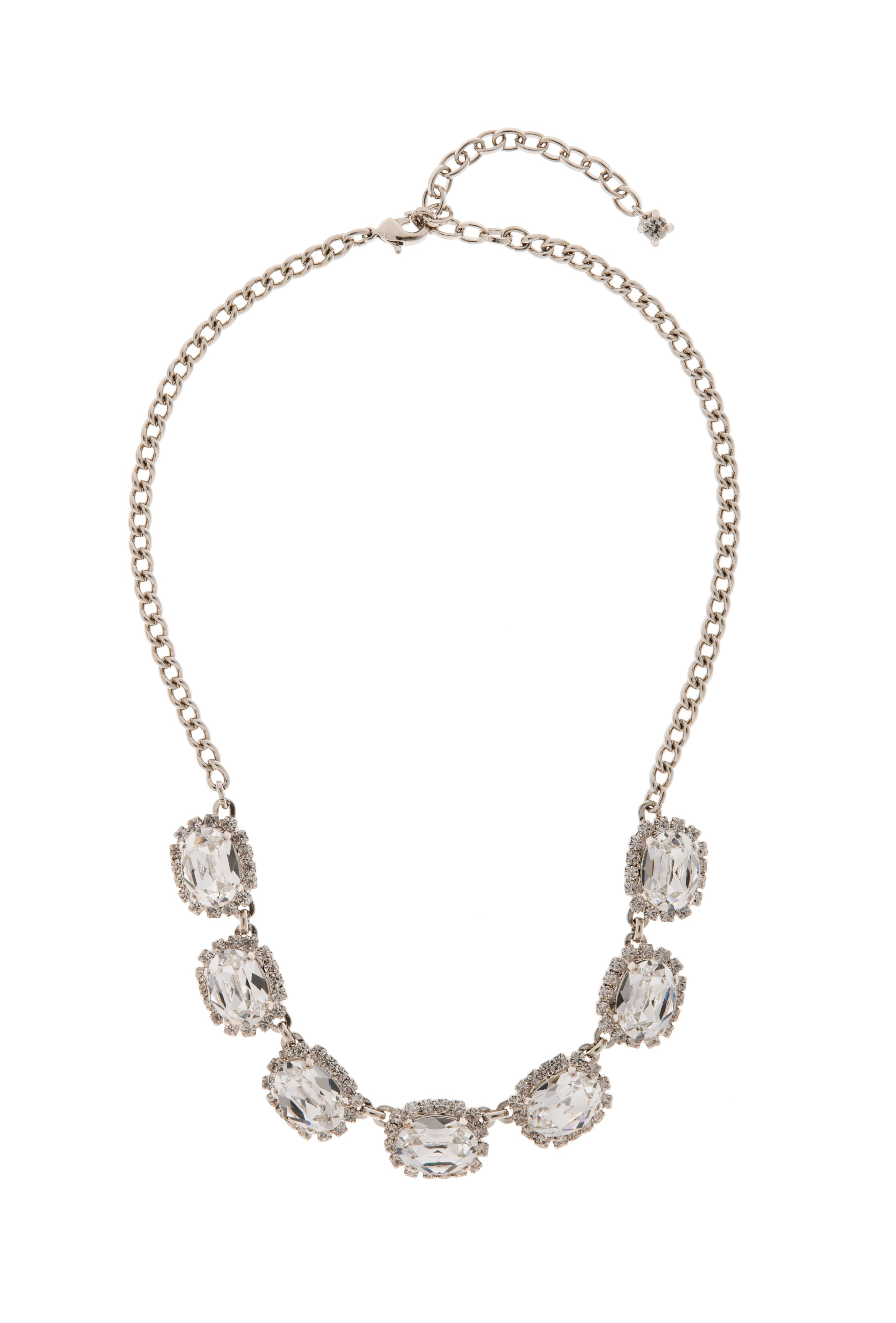 Bridal crystal oval stoned necklace