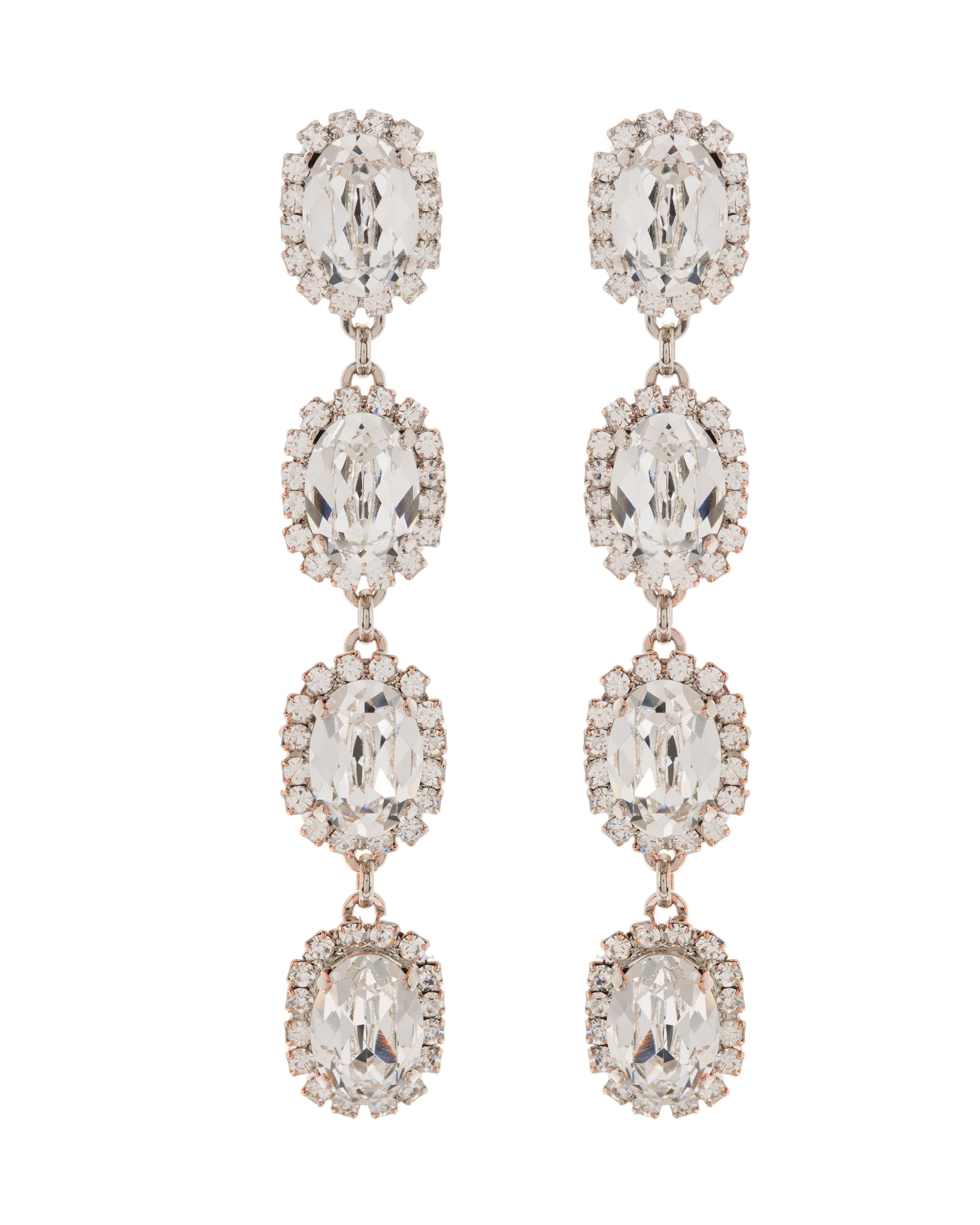 Bridal crystal oval stoned drop earrings