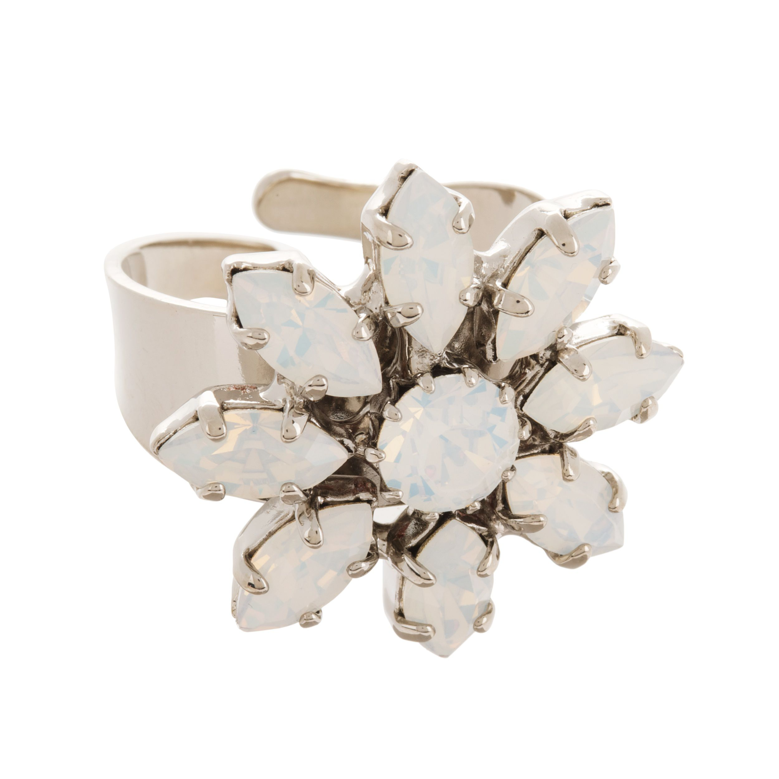 Bridal crystal flower ring