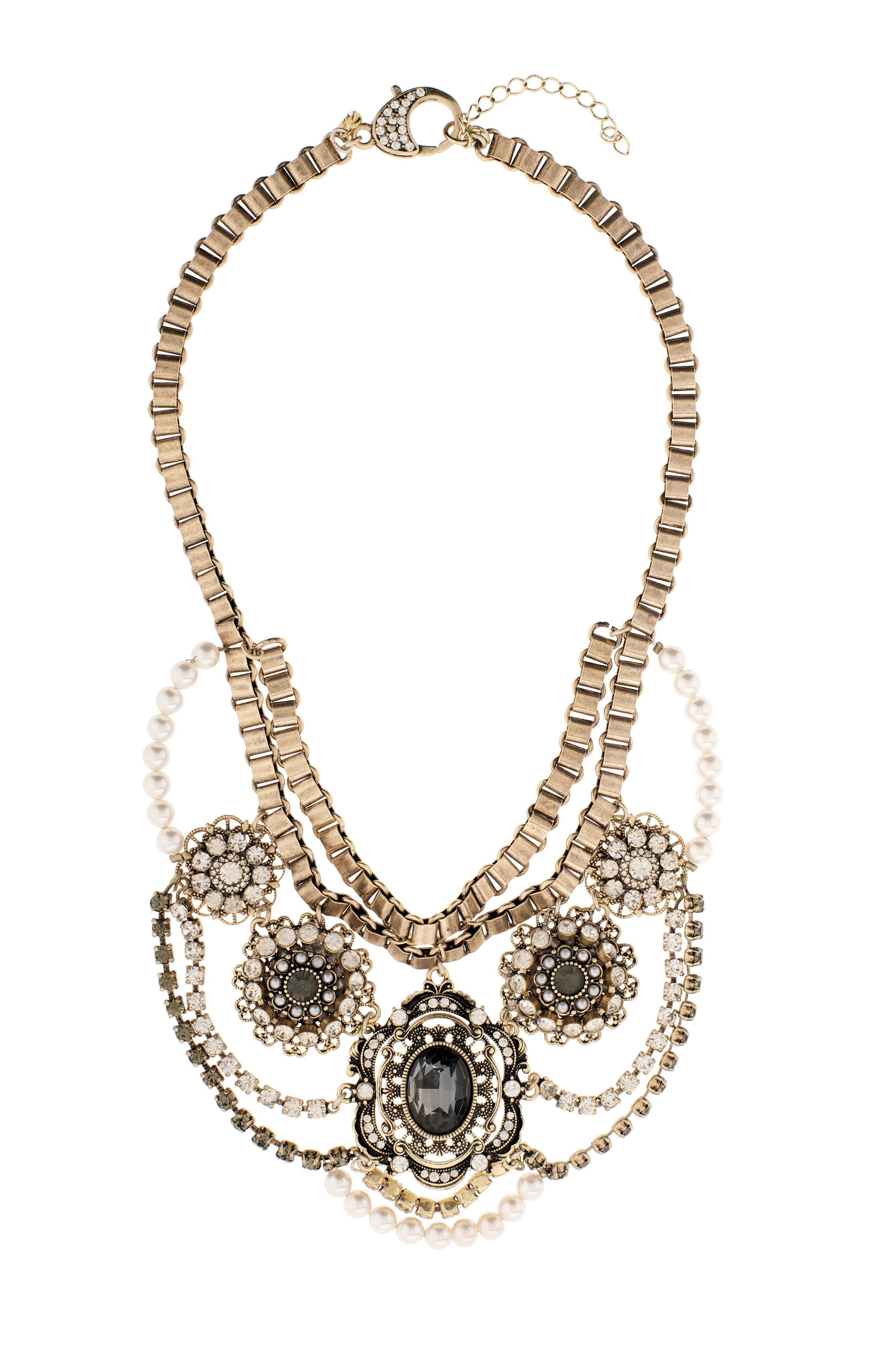 Stargazer pearl vintage statement necklace
