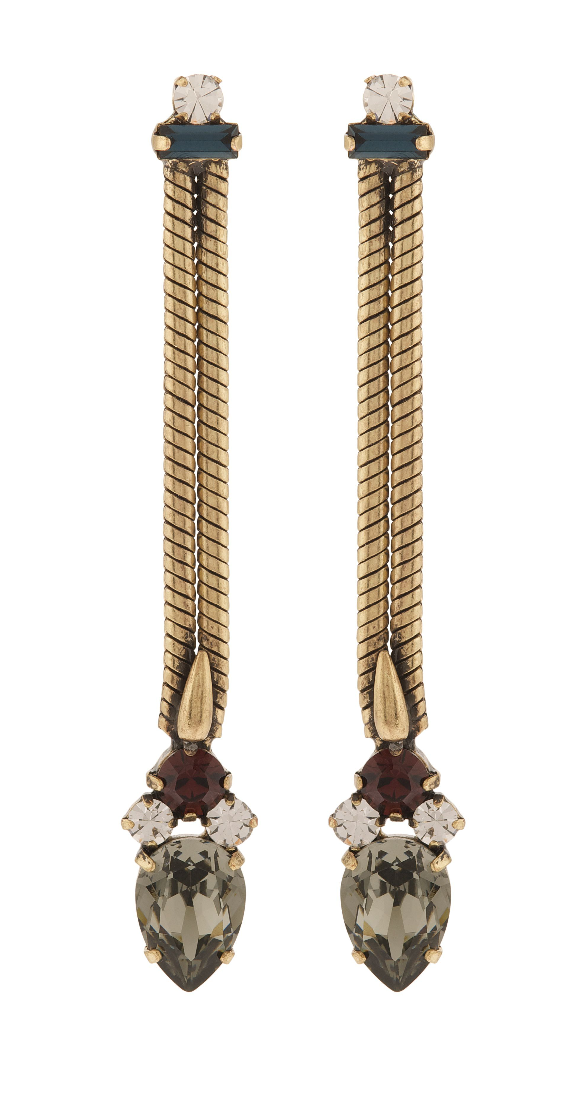 Cosmic chain and crystal drop earrings in burgund