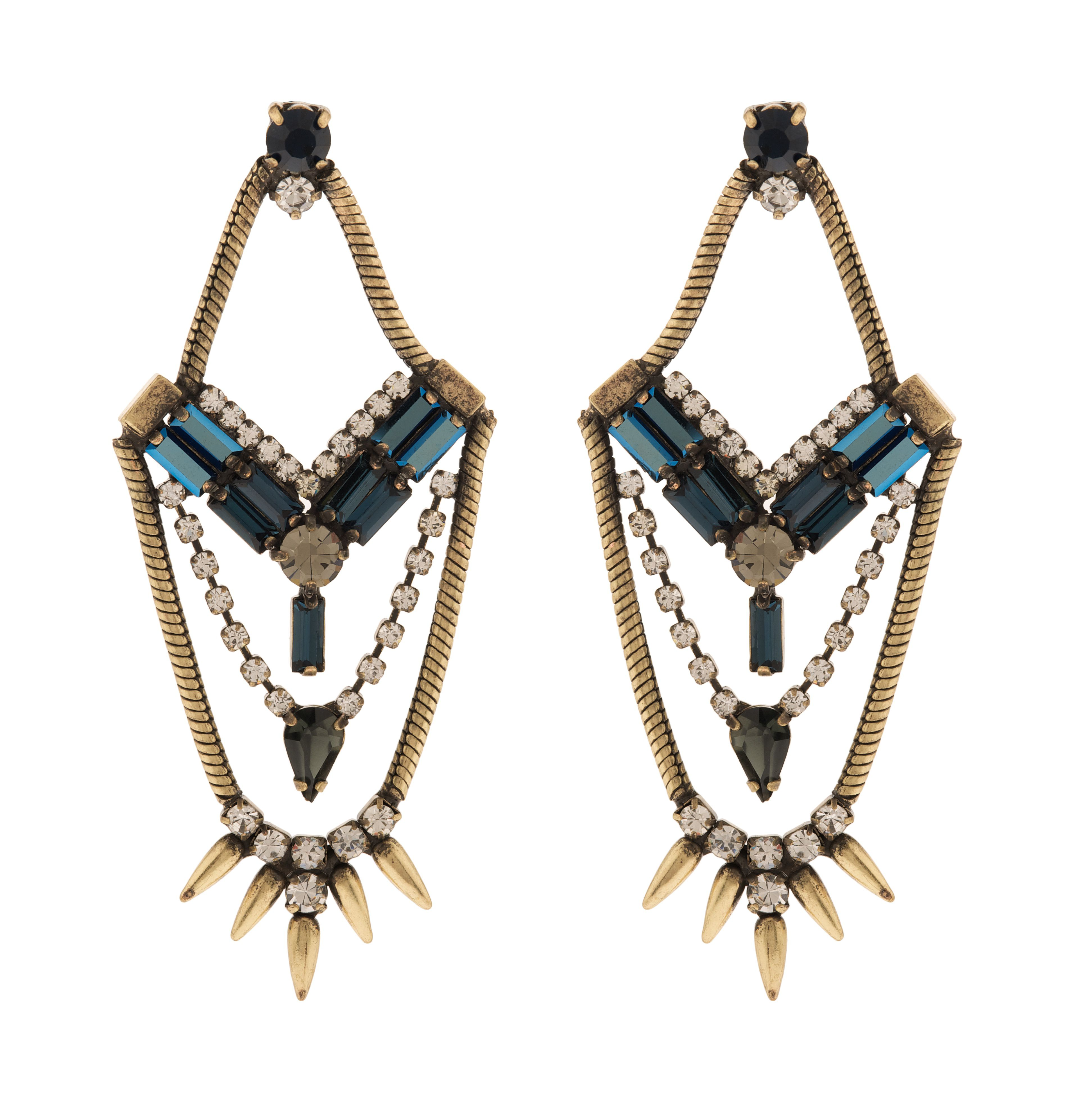 Cosmic statement chandelier spiky earrings