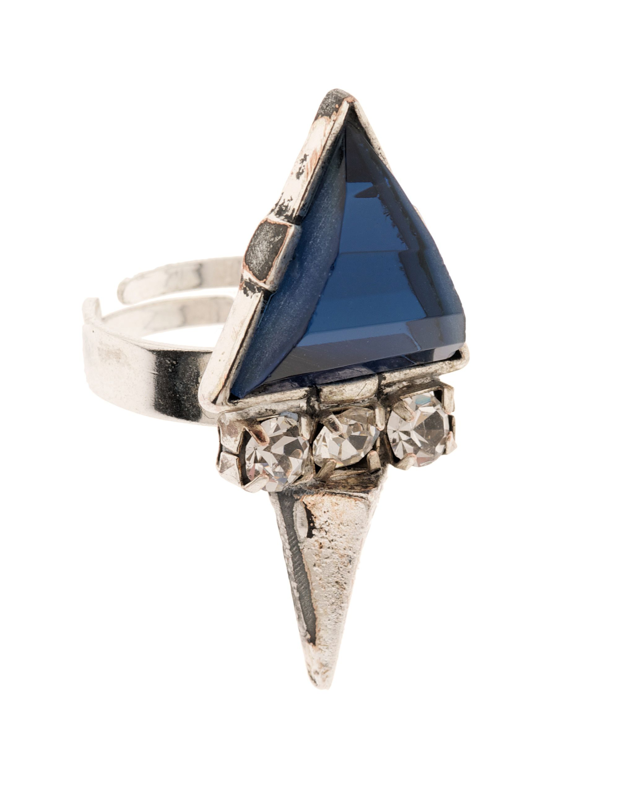 Moonlight triangular cobalt ring