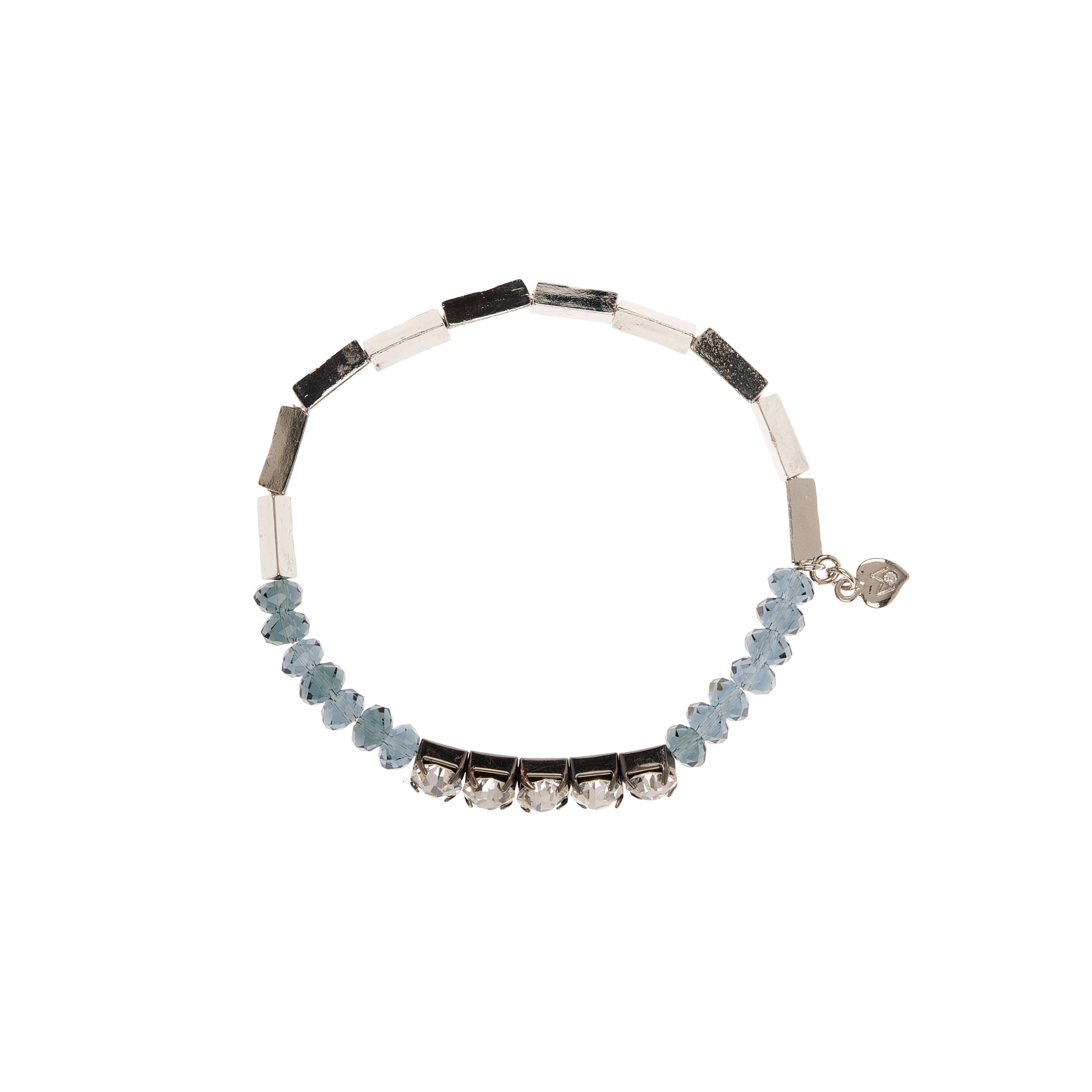 Moonlight crystal and beads stretch bracelet